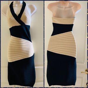 Knit Ribbed Bandage Block Color Mini Dress
